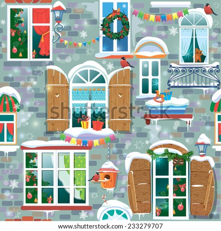 Seamless pattern with decorative Windows in winter time. Christmas and New Year holidays City endless background. Raster version - stock photo