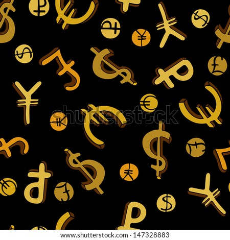 Seamless pattern with doodle money symbols on black background - stock photo