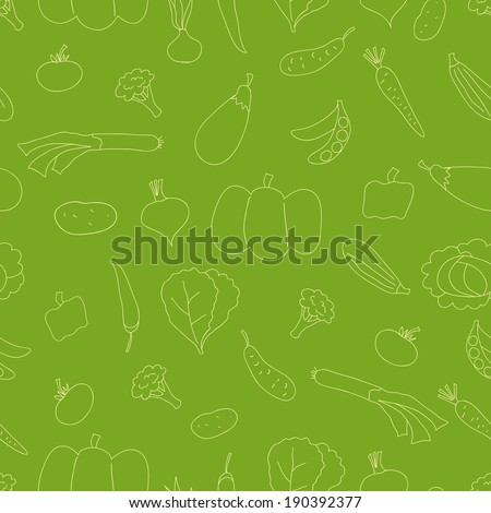 Seamless pattern with doodle outline vegetables. Can be used for textile, wallpaper, wrapping. - stock photo