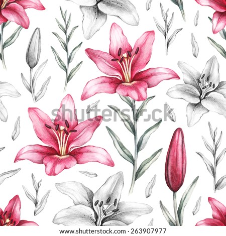 Seamless pattern with drawings of lily flowers - stock photo