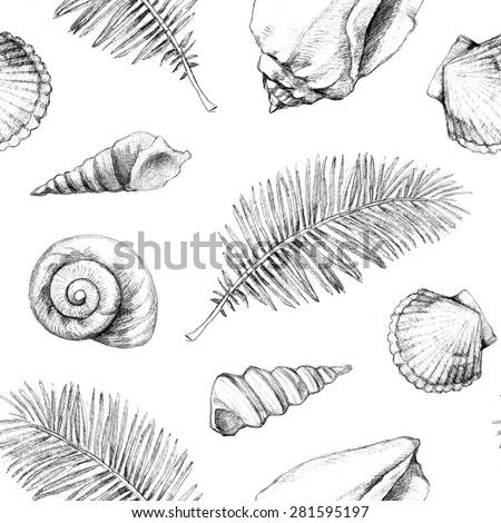 Seamless pattern with drawings of sea shells and palm leaves - stock photo