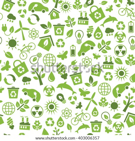 Seamless pattern with Eco Icons in flat style. Ecology, Nature, Energy, Environment and Recycle Icons. Green icons on white background for your design. Raster illustration. - stock photo