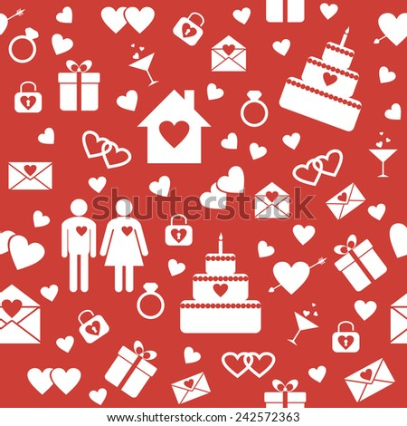 Seamless pattern with flat elements for Valentine's Day design. Raster version - stock photo