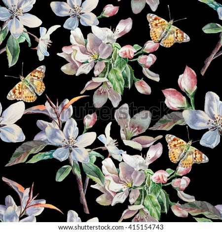 Seamless pattern with flowers and butterflies on a black background. Watercolor.  Hand drawn. - stock photo