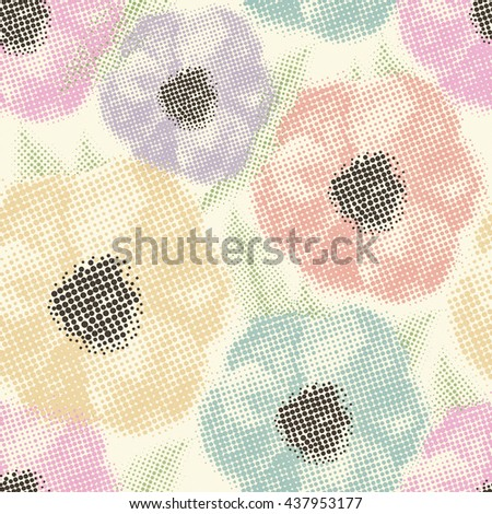 Seamless pattern with flowers halftone background. - stock photo