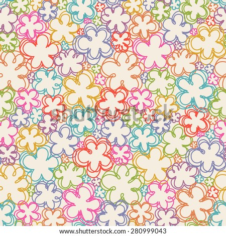 Seamless pattern with flowers of doodles. Floral background in hand drawn childish style. Ornamental decorative illustration for print, web - stock photo