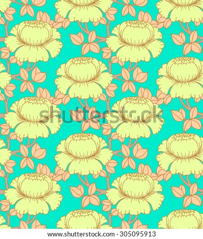 Seamless pattern with flowers, vector background - stock photo