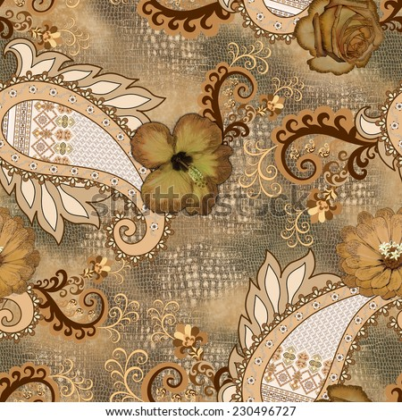 seamless pattern with fragments of snakeskin, with ethnic paisley ornament, decorated with flowers - hibiscus, rose, daisy - in brown, beige and gray tint - stock photo