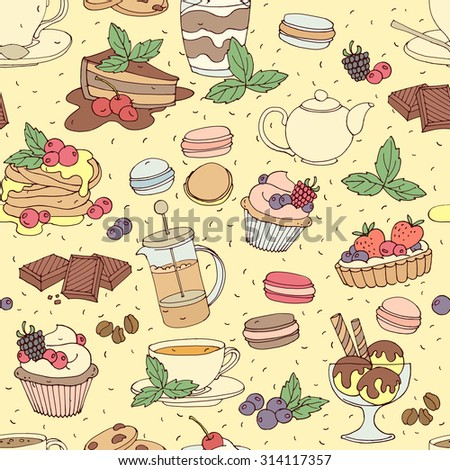 Seamless pattern with fresh desserts, coffee, tea, berry, ice cream, cupcakes and chocolate. illustration  - stock photo