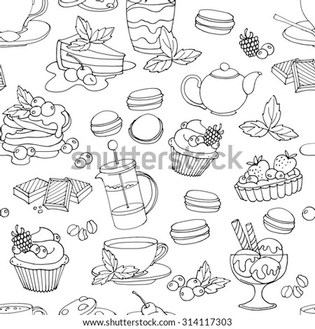 Seamless pattern with fresh desserts, coffee, tea, berry, ice cream, cupcakes and chocolate. Black and white. illustration  - stock photo