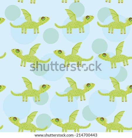 Seamless pattern with funny cute dragon on a blue background. - stock photo