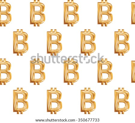 Seamless pattern with glossy gold bitcoin sign. - stock photo