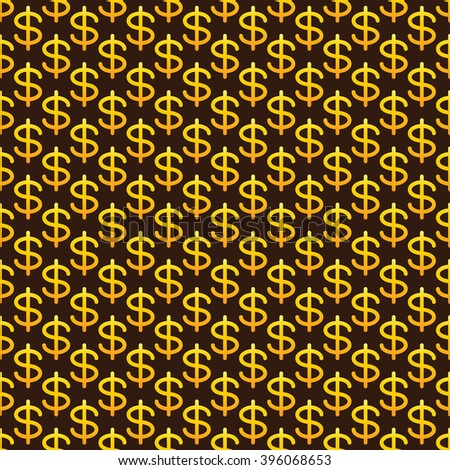 Seamless pattern with golden colored dollar sign situated on brown background with golden dotes. Concept of national American currency strength - stock photo