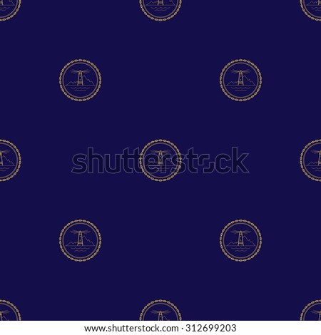 Seamless Pattern with Golden Lighthouse on a Navy Background , Seamless Pattern of Maritime Emblem for Web Design and Wallpaper and Fabric - stock photo
