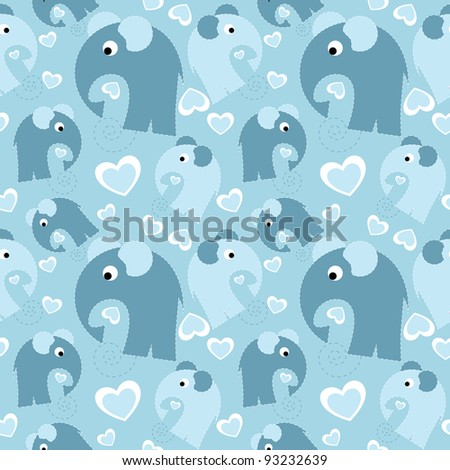 seamless pattern with grey elephant and heart - stock photo
