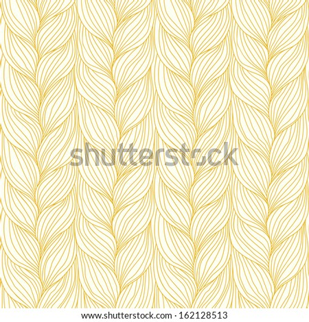 Seamless pattern with hairstyle of light brown plaits. Decorative illustration of interweaving of braids. Ornamental background in form of knitted fabric. Stylized decorative textured yarn close-up  - stock photo