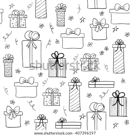 Seamless pattern with hand drawn gift boxes. May be used as a coloring book. Raster version - stock photo