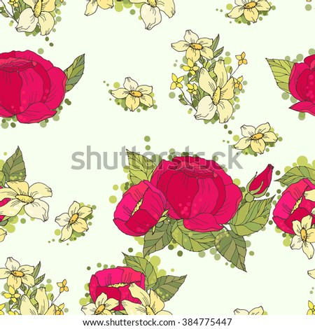 Seamless pattern with hand drawn red and yellow flowers - stock photo