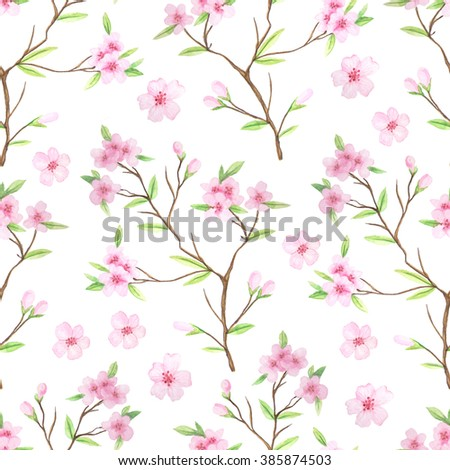 Seamless pattern with hand painted watercolor cherry flowers and branches. Spring cherry blossoms background in delicate pink and green colors perfect for wedding decor or fabric textile - stock photo