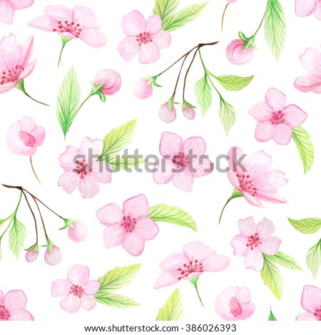 Seamless pattern with hand painted watercolor cherry flowers and leaves. Spring cherry blossoms background in delicate pink and green colors perfect for wedding decor or fabric textile - stock photo