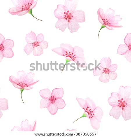 Seamless pattern with hand painted watercolor cherry flowers. Spring cherry blossoms background in delicate pink and green colors perfect for wedding decor or fabric textile - stock photo
