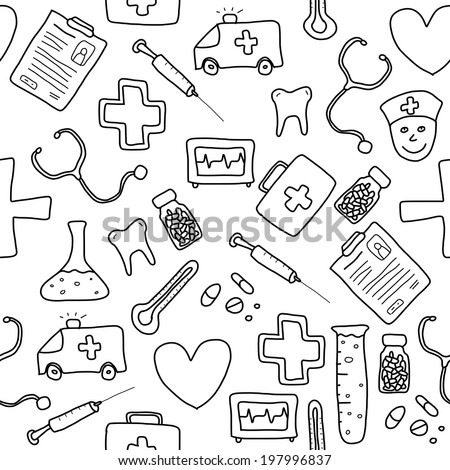 Seamless pattern with healthcare, medicine and pharmacy icons and symbols. Medical background doodle. - stock photo