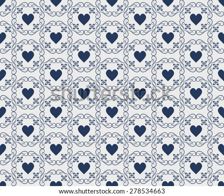 Seamless pattern with hearts for Valentine's Day design. Wedding backdrop with hearts. Romantic patterns.  - stock photo