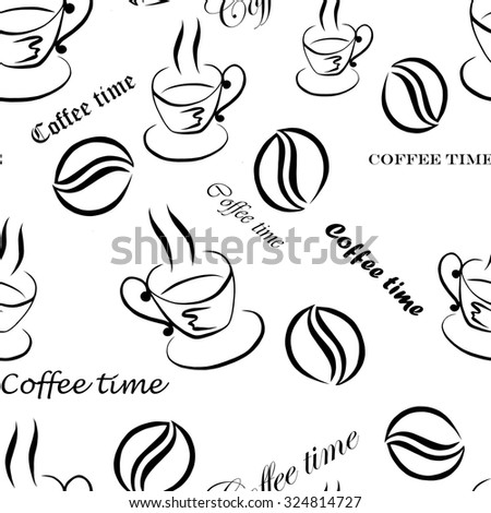 Seamless pattern with images of a cup of coffee, coffee beans and inscriptions ''Coffee time'', hand-drawn by black ink on a white background - stock photo