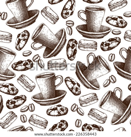 Seamless pattern with ink hand drawn coffee and dessert illustrations. Vintage coffee   sketch background. - stock photo