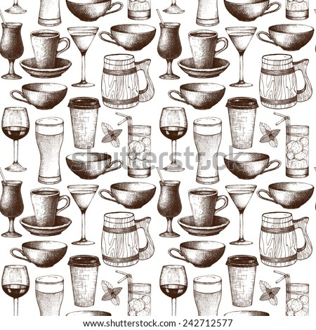 Seamless pattern with ink hand drawn drinks cups, glass and mugs illustration isolated on white. Vintage drink sketch background - stock photo