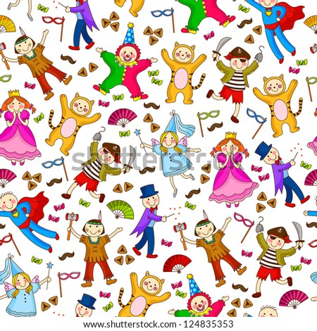 seamless pattern with kids wearing costumes (vector available in my gallery) - stock photo