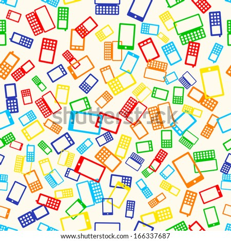 Seamless pattern with many mobile devices phone on light background - stock photo