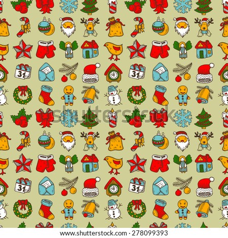 seamless pattern with merry christmas and happy new year sketch drawing icons, raster version - stock photo