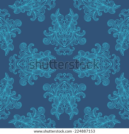 Seamless pattern with ornate detailed ornament. Useful for packaging, invitations, gift cards etc. Illustration hand-drawn vintage baroque seamless print. - stock photo