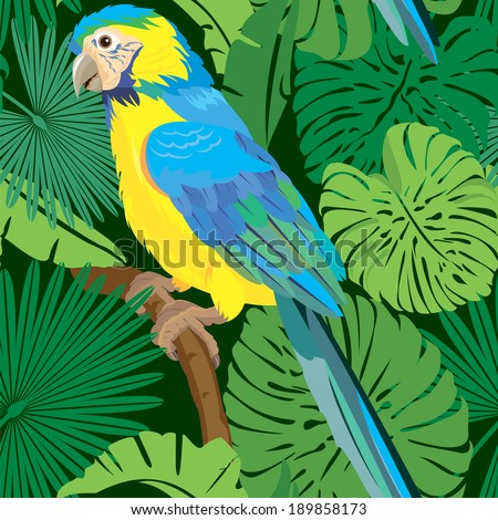 Seamless pattern with palm trees leaves and Blue Yellow  Macaw parrot. Ready to use as swatch. - stock photo