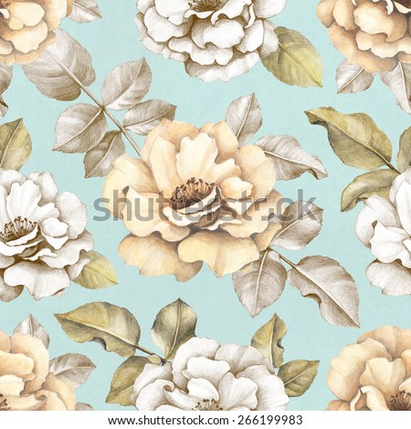 Seamless pattern with pencil drawings of flowers - stock photo