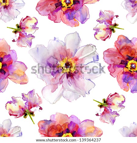 Seamless pattern with peony flowers. Watercolor illustration. - stock photo
