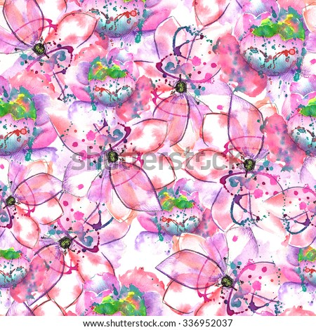 Seamless pattern with pink, purple and violet flowers with blots  painted in watercolor on a white background - stock photo