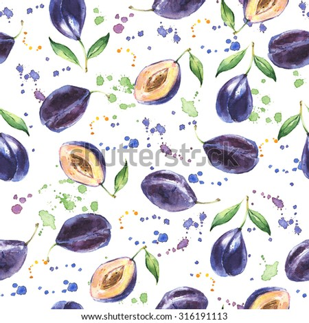 Seamless pattern with Plum, Hand drawn fruit background, Watercolor - stock photo