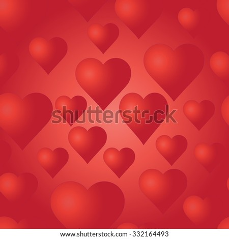 Seamless pattern with red hearts. Bright background. Wedding or Valentine's Day texture. Love template. Romantic backdrop.  - stock photo