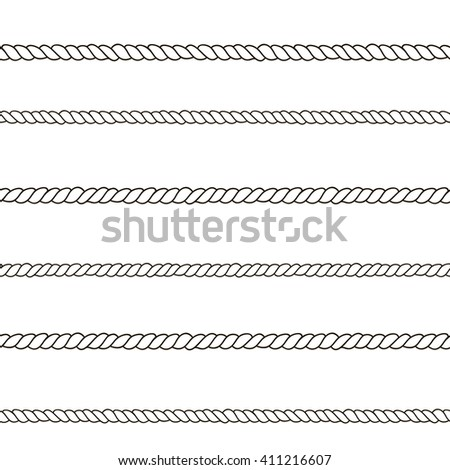 Seamless  pattern with ropes. Black and white hand drawn texture. Perfect background for fabric, packaging, textile or other surfaces - stock photo