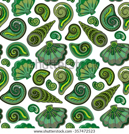 Seamless pattern with shells. Summer  colorful background. Hand draw colorful sea shells backdrop - stock photo