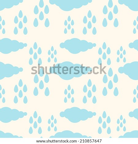 Seamless pattern with silhouettes clouds and rain drops in white and blue. Baby concept. Fabric design. Wallpaper - raster version - stock photo