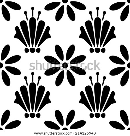 Seamless pattern with silhouettes flowers in black and white. Floral abstract monochrome repeating background. Endless print texture. Fabric design. Wallpaper - raster version - stock photo
