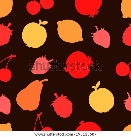 Seamless pattern with silhouettes fruits and berries. Apples. Lemons. Pomegranate. Strawberries. Cherry. Raspberries. Food background. Summer. Endless print texture. Retro style - raster version - stock photo