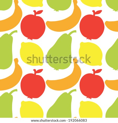 Seamless Pattern with Silhouettes Fruits. Apples. Lemons. Bananas. Pears. Summer. Food. Endless print  texture. Retro. Vintage style - raster version  - stock photo