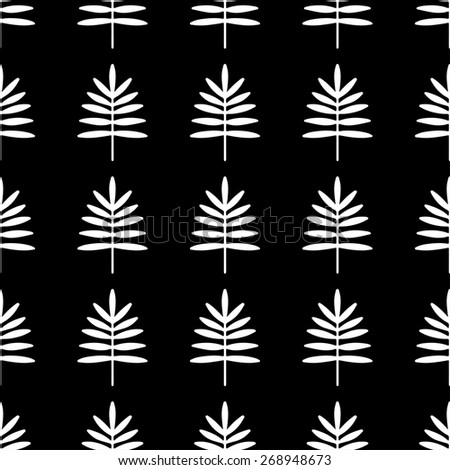 Seamless pattern with silhouettes palm leaves in black and white. Natural repeating monochrome print texture. Cloth design. Wallpaper, wrapping - stock photo