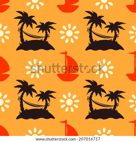 Seamless pattern with silhouettes tropical coconut palm trees, yacht, clouds, hammock. Endless print texture. Summer background - raster version - stock photo