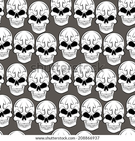 Seamless pattern with skulls  gray background - stock photo