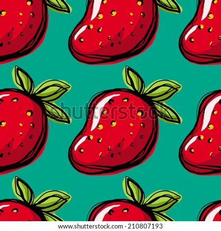 Seamless pattern with strawberry on green background. Endless print texture. Food. Fruit. Berry. Simple. Scribble. Cartoon hand drawing illustration - raster version  - stock photo